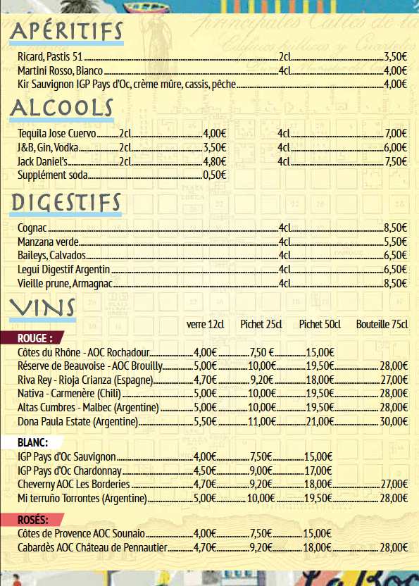 carte des vins Le progrès restaurant argentin Paris restaurant Argentin