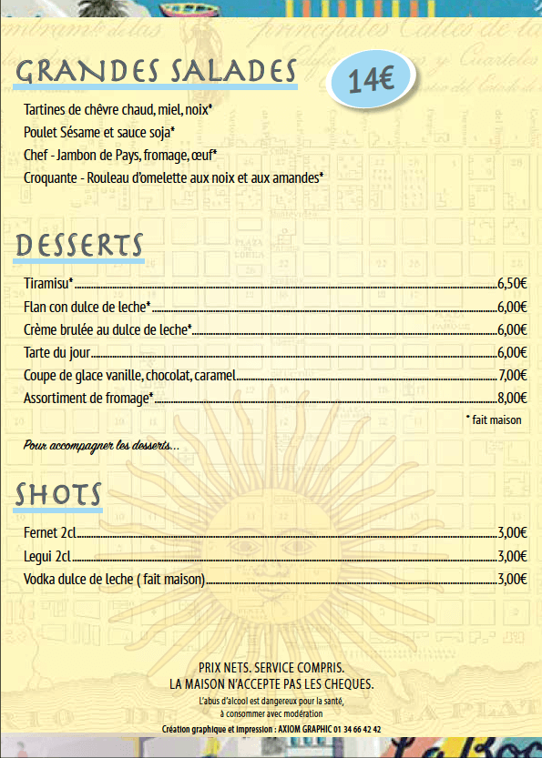 menu salades desserts Le Progres restaurant argentin