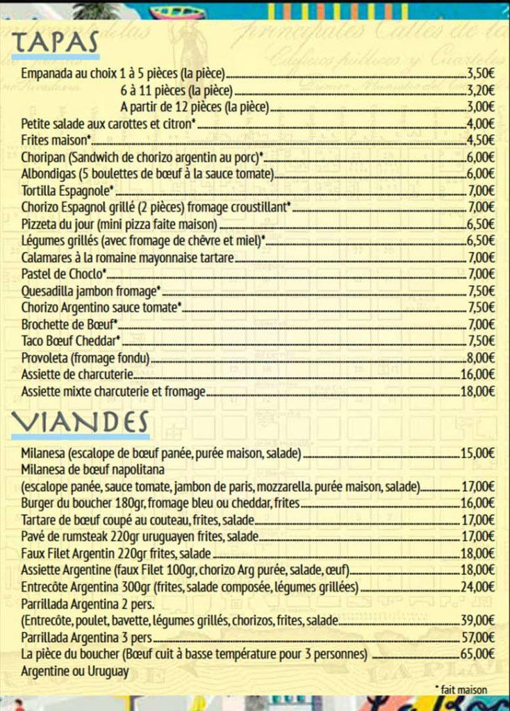 menu tapas viandes restaurant Le Progres